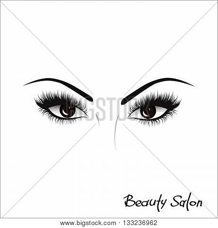 Sample logo for a beauty salon, beauty products. Eyelash. Vector. Hand drawing, lettering, fashion, beauty, sketch