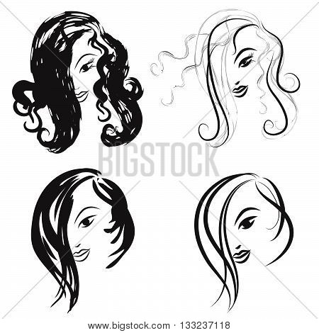 Some hairstyles for women. Front view. Black and white outline mode. Hand drawn vector illustration. Logo for the hairdresser or beauty salon