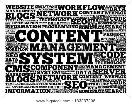 CMS Content Management System word cloud business concept background
