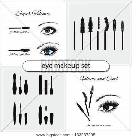 Beautiful eye with makeup accessories, brushes, combs and mascara. Eye makeup vector set