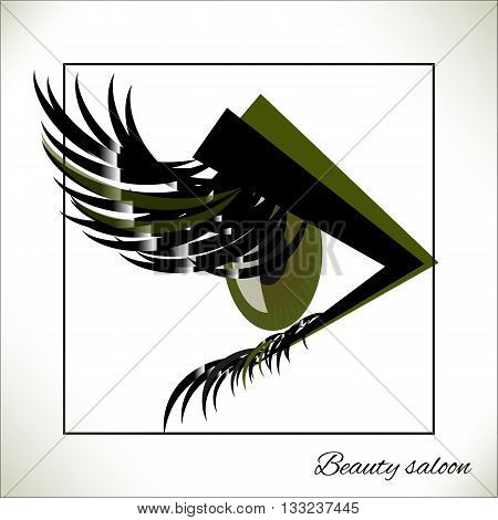 Vector green eye with thick lashes. Hand drawing fashion beauty sketch