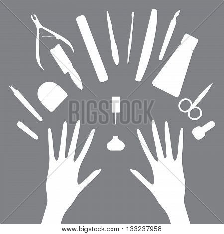Vector set of manicure tools, cosmetics, nail polish, hands and spa manicure logo. Eps 8