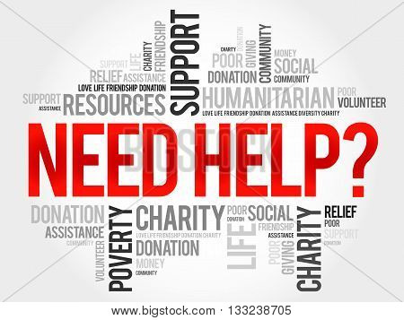 Need help? word cloud concept, presentation background
