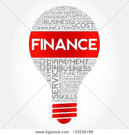 FINANCE bulb word cloud business concept, presentation background