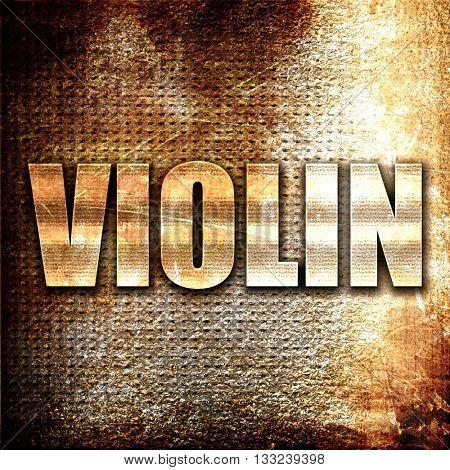 violin, 3D rendering, metal text on rust background