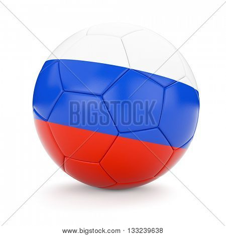 3d rendering of Russia soccer football ball with Russian flag isolated on white background