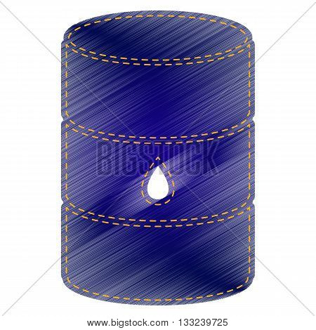 Oil barrel sign. Jeans style icon on white background.