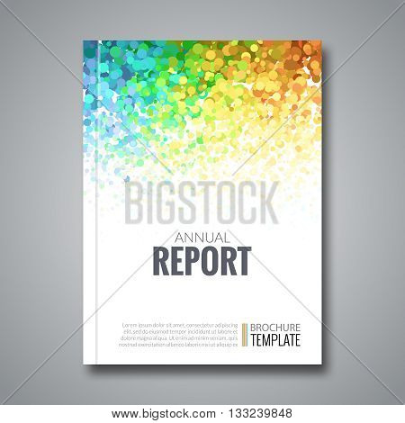 Business Report Design Background with Colorful Dots, simulating Watercolor. Dotwork Brochure Cover Magazine Flyer Template, vector illustration.