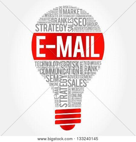 E-MAIL bulb word cloud business concept, presentation background