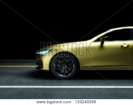 Car wrapped in golden carbon film. 3d render