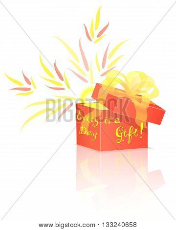 Shining Sun Inside Red Gift Box with Conceptual Lettering. Vector Isolated Gift Box