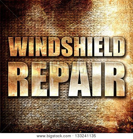 windshield repair, 3D rendering, metal text on rust background