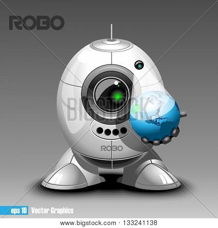 Silver robo eyeborg projecting the planet earth in 3d holding in hand. Big green and black eye and antenna two feet. Digital vector image.