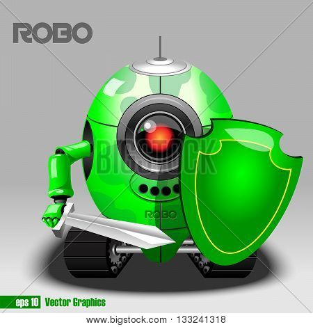 3d green robo eyeborg warrior with a sword and shield and moving as a tank. Big red and black eye and antenna. Digital vector image.