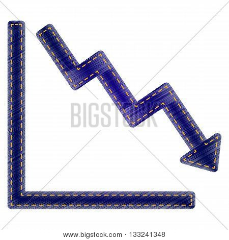 Arrow pointing downwards showing crisis. Jeans style icon on white background.
