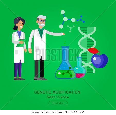 detailed character men woman scientis, laboratory technician looking through a microscope, Biotechnology icons concept, composition of genetic engineering