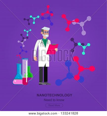 detailed character men scientis, nanotechnology and genetic modification concept