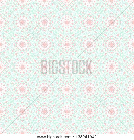 Vector art deco flourish pattern with abstract flowers in 1920s fashion style. Simple and elegant print with chic decor and floral motif and circles for wedding invitation background in mint pink