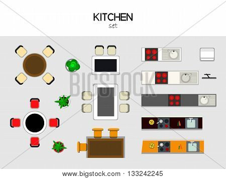 vector set of furniture for the kithen, top view. Table with chairs, kitchen with sink and stove, fridge, TV