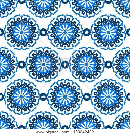 Vector seamless pattern with big abstract flowers in bright blue colors on white. Vintage style background with flourish decor. Bold print with floral circles, dots and stars with ethic, indian motifs