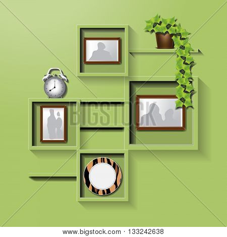 Green square shelf on a wall with family pictures clock plate and flower pot. Digital vector image