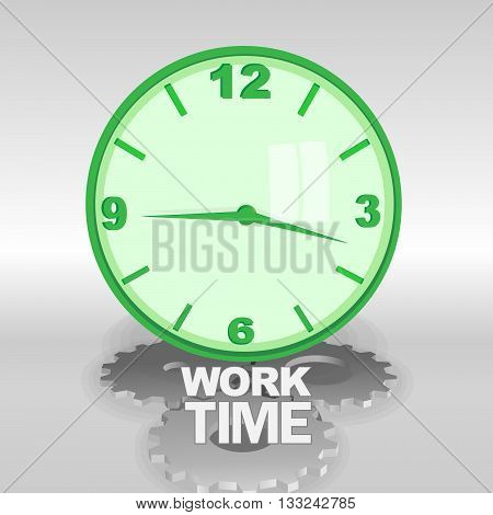 Big green 3d clock with work time text. Reflection on the glass silver gears. Digital vector image