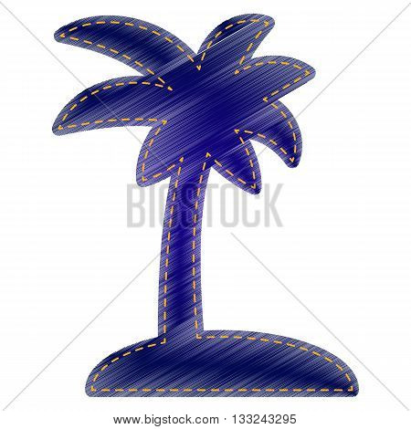Coconut palm tree sign. Jeans style icon on white background.