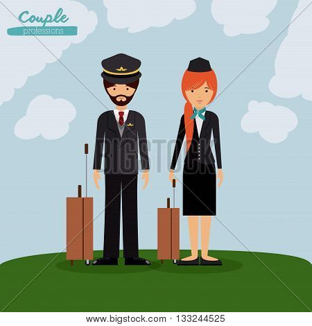 pilot and flight attendant design, vector illustration eps10 graphic