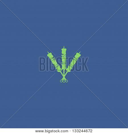 Shish kebab on skewers Icon. Modern design flat style icon
