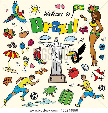 Big cartoon set of Brazilian templates - football Brazilian accessories clothes trees musical instruments animals. For banners sport backgrounds presentations
