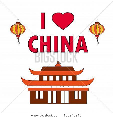 I love china. Pagoda and light on white background vector illustration