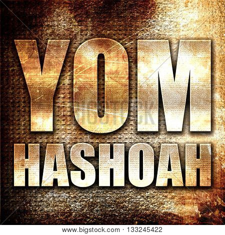 yom hashoah, 3D rendering, metal text on rust background