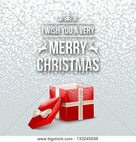 Merry Christmas Design Typography Lettering Greeting Card with Falling Snowflakes and Xmas Tree Background with Gift Box. Happy New Year template. Vector illustration.