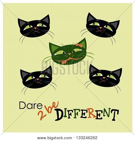 Five cats one different from the others vector illustration