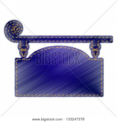 Wrought iron sign for old-fashioned design. Jeans style icon on white background.