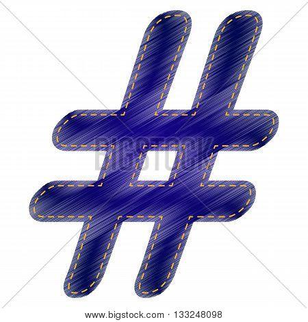 Hashtag sign illustration. Jeans style icon on white background.