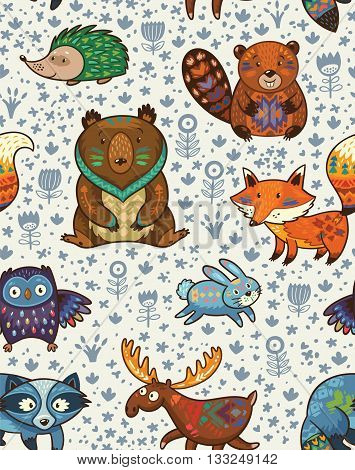 Woodland friends forest animals in white background. Vector pattern of cute wild animals in the forest - fox, beaver, raccoon, bear, hedgehog, deer and owl. Vector illustration