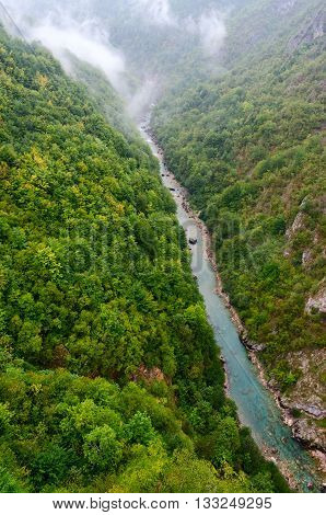 Top view of canyon of Tara river in rainy day Montenegro