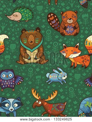 Woodland friends forest animals in green background. Vector pattern of cute wild animals in the forest - fox, beaver, raccoon, bear, hedgehog, deer and owl. Vector illustration