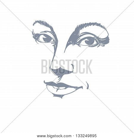 Vector Art Drawing, Portrait Of Gorgeous Happy Smiling Girl Isolated On White. Facial Expressions, P