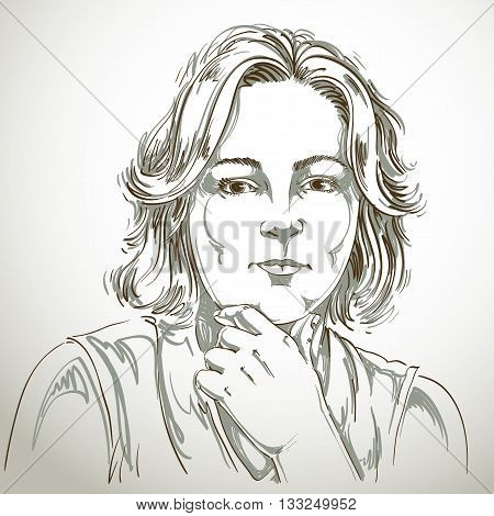 Portrait Of Delicate Good-looking Woman Thinking About Something, Black And White Vector Drawing. Em