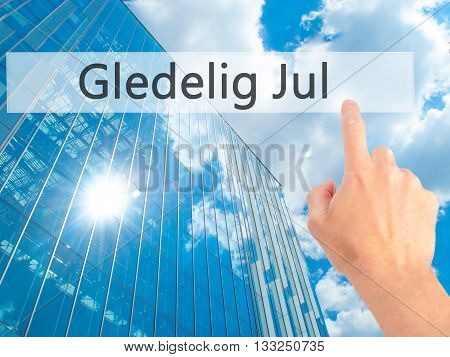 Gledelig Jul (happy Christmas In Norwegian) - Hand Pressing A Button On Blurred Background Concept O