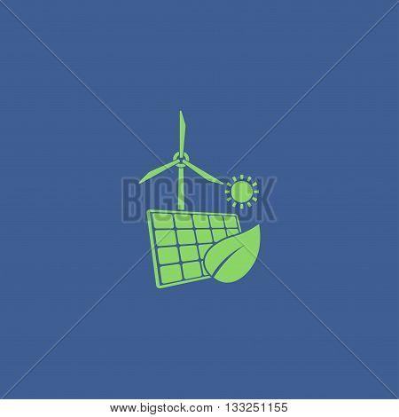 solar panel icon and wind turbine icon. Vector