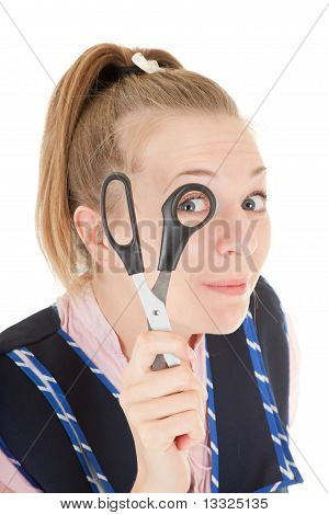Barber Girl With Scissors