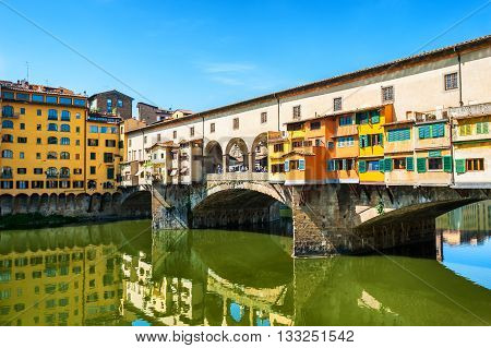 Beautiful and famous Ponte Vecchio in Florence Italy