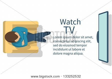 Watch TV. Man sitting in armchair watching television. Vector illustration flat design. Template banner for web design.