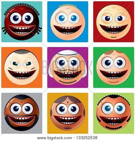 Nationality Smiley Icons. Vector Set of Smileys. Various Cartoon Man Faces with Different Ethnicity