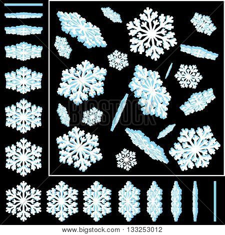Isolated Vector Snowflakes. 3D Vector Illustrations Set. Ready for Your Christmas Design. Snowflake Icons.