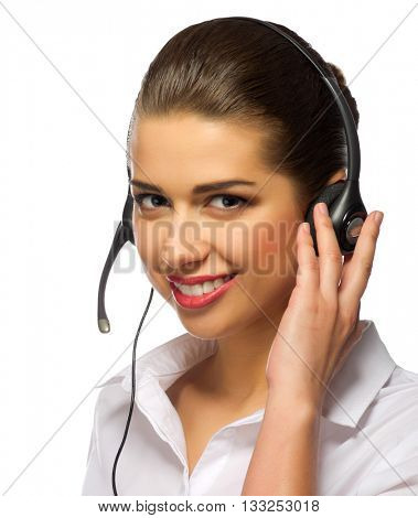Young girl call center operator isolated