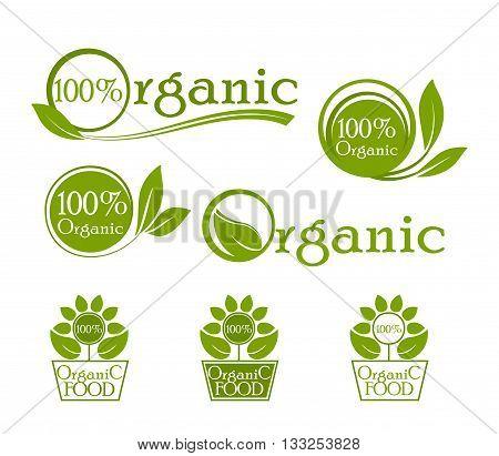 Organic logo, icons for natural food. Bio, organic, vegan fresh etc.